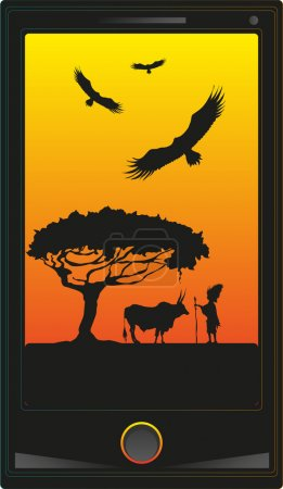 Vector illustration. Phone with the image African wildlife.