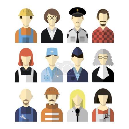 Illustration pour Vecteur plat professions ensemble - image libre de droit