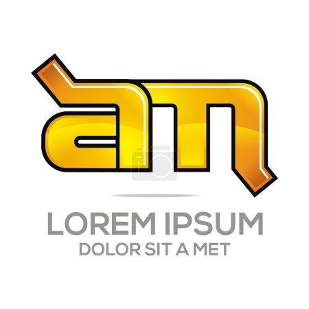 Illustration pour Lettre abstraite am logo créatif design police initiale icône alphabet - image libre de droit