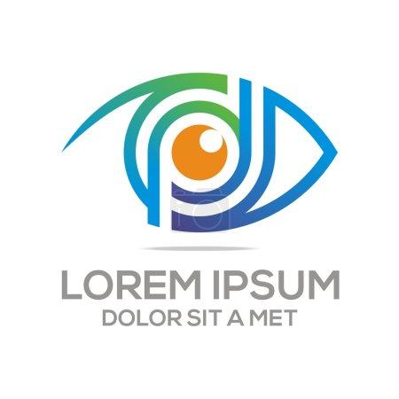 Illustration pour Logo Abstrait yeux élément optique élégant beau voir optique logotype symbole forme signe entreprise caméra concept conception espion visuel - image libre de droit