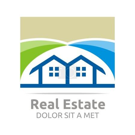 Illustration for Logo, house, real estate, home, apartement, architecture, construction, property, element, elegant, mortgage, object, residential, villa developer, - Royalty Free Image