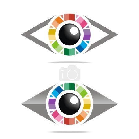 Illustration pour Abstrait, logo, arc-en-ciel, oeil, cercle, globe oculaire, symbole, coloré, infini, ruban, cils, vue, sourcils, optique, lentille - image libre de droit