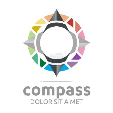 Logo design icon compass direction place abstract vector