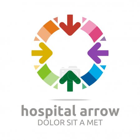 Abstract logo hospital arrow tringle colorful icon vector
