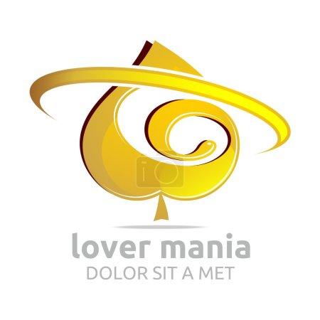Logo spade gold shapes element symbol icon vector