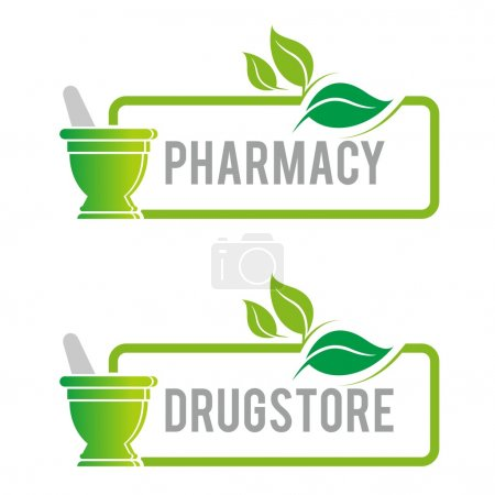 Illustration for Pharmacy, natural, healthcare, healthy, medical, organic, green, shapes, product, logo, mashed, icon, drugs, ecology, nature - Royalty Free Image