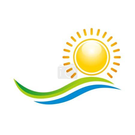 Illustration pour Logo, ligne, cercle, rayon, coucher de soleil, soleil, panorama, vague, saison, ensoleillé, horizon, rond, design, icône, symbole, abstrait, jaune - image libre de droit