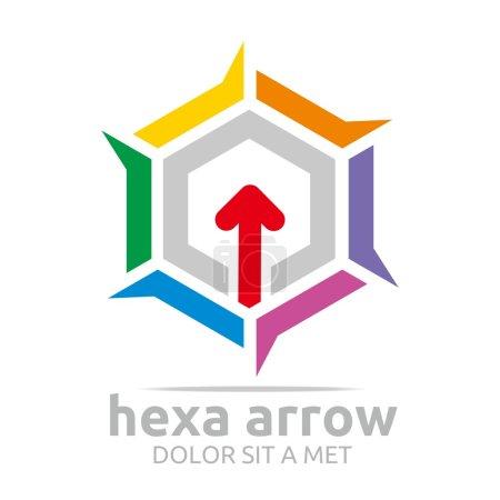 Logo hexagon arrow icon abstract vector
