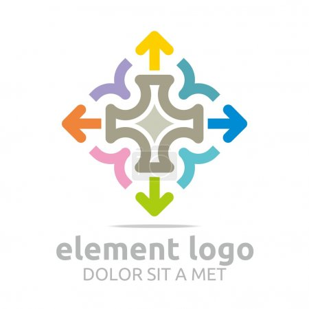 Logo colorful arch element design abstract icon vector