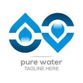 Logo Pure Water Drop Symbol Icon Vector Business Aqua