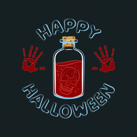 Illustration for Vector illustration of Happy Halloween with skull in bottle. Isolated objects on a black background. - Royalty Free Image