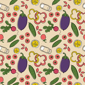 Seamless wallpaper with vegetables on a beige background