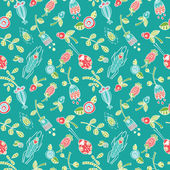 Vector seamless wallpaper of herbs flowers berries and insects the turquoise background