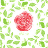 Vector wreath or frame from watercolor leaves and a red flower in the center with place for your text