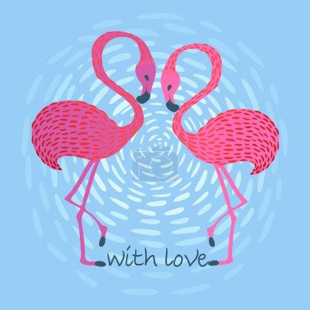 Vector illustration of a loving flamingos at sunse...