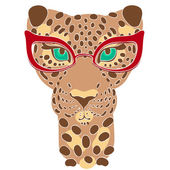 Vector illustration the muzzle of the leopard in fashion glasses for prints on your clothes