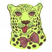Print for t-shirts vector illustration of the face of a leopard with its tongue hanging out in a bow-tie