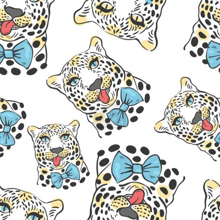 Illustration for Vector pattern, seamless Wallpaper with a picture of the muzzle of the leopard with protruding tongue, bow tie - Royalty Free Image