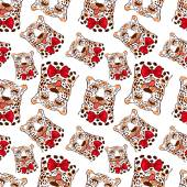 Vector pattern seamless Wallpaper with a picture of the muzzle of the leopard with protruding tongue bow tie