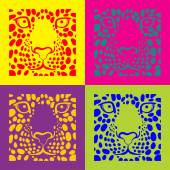 Vector illustration print for t-shirts with a picture of the muzzle of the leopard in the box