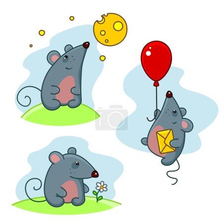 Photo pour Une série de souris dans différentes poses . - image libre de droit