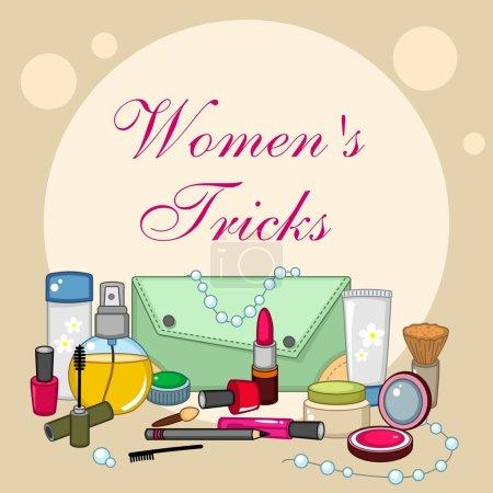 Illustration pour Un ensemble de moyens cosmétiques pour qu'une femme soit belle - image libre de droit