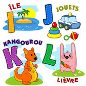 French alphabet with letters a I J K L to the island and pictures toys kangaroo rabbit