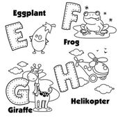 English alphabet and the letters E F G and H