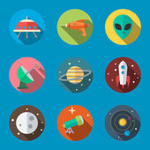 Space icons in flat design vector