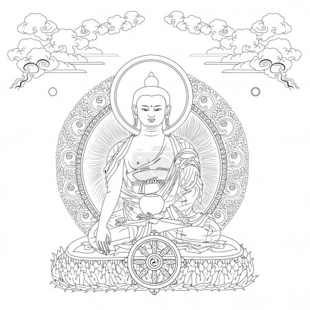 Vector illustration with Buddha in meditation clou...