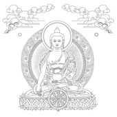 Vector illustration with Buddha in meditation clouds and Wheel of Dharma Gautama Buddha Black and white design