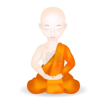 Illustration pour Moine bouddhiste en pose de méditation. Isolé en fond blanc. Illustration vectorielle . - image libre de droit