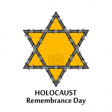 Vector Jewish star and barbed wire. Holocaust remembrance day il