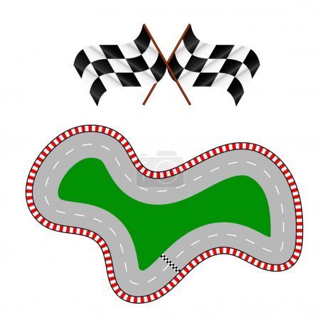 Racing track with two flags