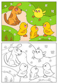 Coloring book A yellow chicken cheers ducks and puppy