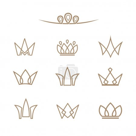 Vector logo set. Crowns in a line style.