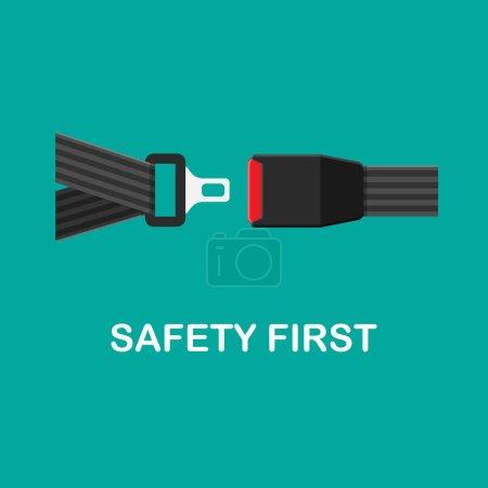 Illustration pour Icône de ceinture de sécurité vectorielle isolée sur fond vert. Cliquez sur le concept. Équipement de sécurité pour voiture et avion - image libre de droit
