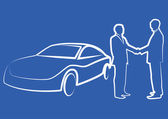 two businessmen shaking hands in front of a car - illustration
