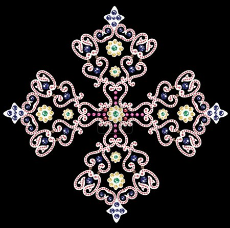artwork with beads and jewels