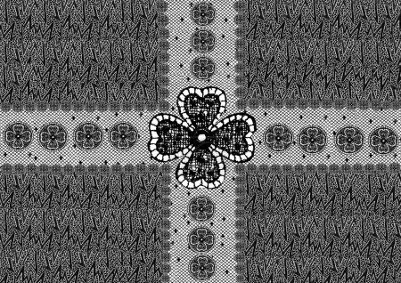 Monochrome lace with floral motifs