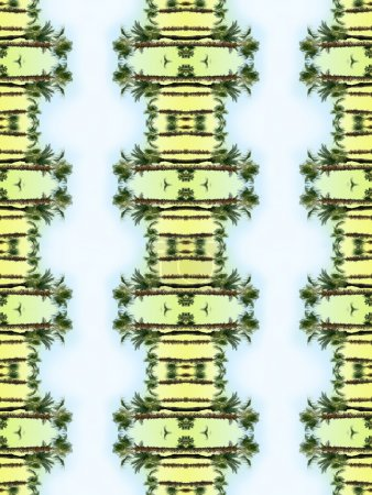 Photo for Seamless, colorful, nature pattern with reflected palm trees - Royalty Free Image