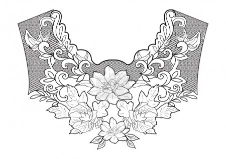 Illustration for Floral neck embroidery. Vector illustration - Royalty Free Image