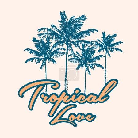 Illustration pour Impression tropicale avec palmier et slogan en vecteur - image libre de droit