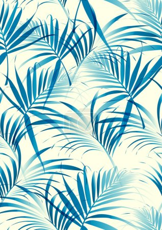 Illustration for Tropical leaves pattern in vector background - Royalty Free Image