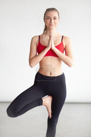 Woman working yoga exercise