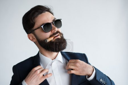 Photo for Attractive man with a cigar fixing his suit. Close up face of confident bearded man on white background - Royalty Free Image