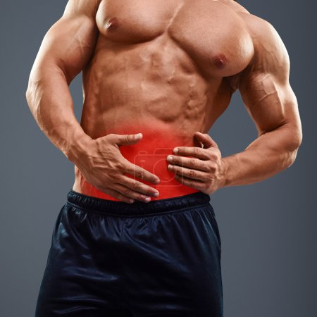 Ahtletic muscle man Pain in abdomen