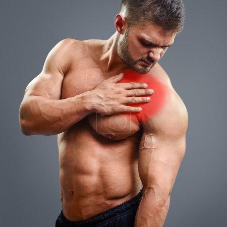 Ahtletic muscle man Heart pain