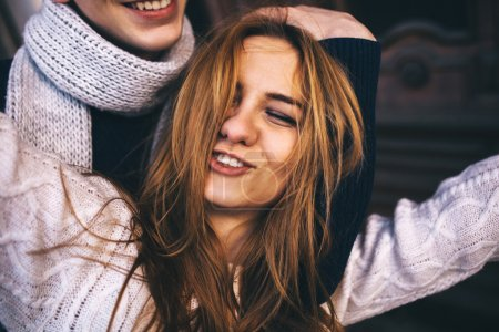 Close up portrait of carefree teenage girl