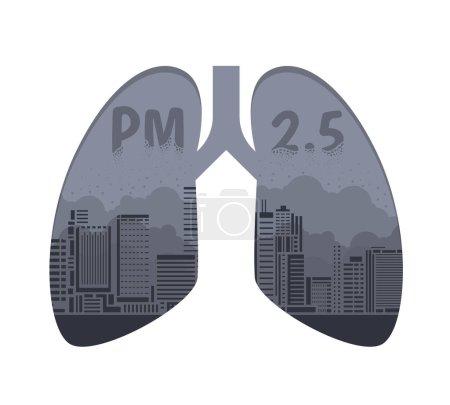 Illustration pour Concept de pollution atmosphérique avec la poussière PM 2.5 dans le bâtiment de la ville sur la conception du vecteur de signe pulmonaire - image libre de droit